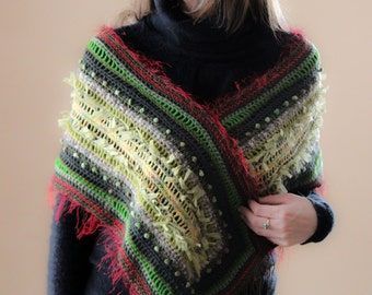 Green Crochet Shawl Scarf with Fringe Green Warm Wrap Crochet Bridal Shawl Rectangular Scarf Women Soft Wrap Croched Stole OOAK Gifts Chunky