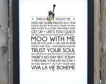 RENT Broadway Musical typography print - Digital Download ***REDUCED***