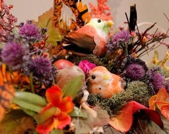 Fall Rattan Pumpkin Fancy Bird Basket (Item 261)