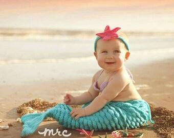 Baby Mermaid Outfit - Newborn Mermaid Tail - Crochet Mermaid Tail - Photography Props - Starfish Headband - Sea Shells Top - Baby Costume