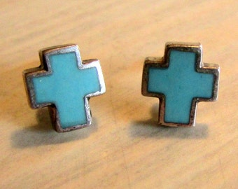 Sterling Silver and Turquoise Post Cross Earrings