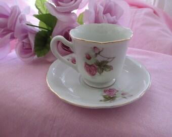 Merit Pink Rose Teacup and Saucer, Vintage Teacup And Saucer Set, Pink Rose Teacup & Saucer, Tea Set