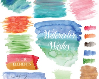 Watercolor Washes Clipart - Colorful Watercolor Clip Art - PNG with Transparent Background - Watercolor Elements - Instant Download