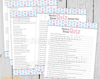 "Nursery Rhyme Quiz Baby Blue and Pink Dots Baby Shower Game - Printable 8 1/2"" x 11"""