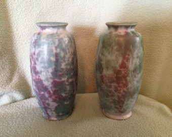 "Burley Winter Pottery Pair of  #107  7 1/2"" Vases Green and Purple"