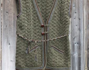 Crochet Vest,Women's Crochet Vest,Crochet Pocket Vest,Green Crochet Vest,Winter Crochet Vest,Winter Accessosie,Vest,Woman Crochet Vest