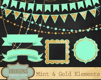 Mint and Gold Glitter Clipart, Bunting Banners, String Lights, Ribbons and Frames Birthday Party Clip art instant download, commercial use