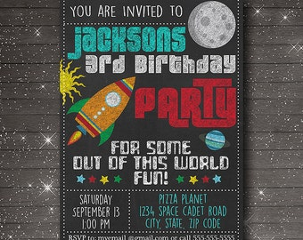 Chalkboard Rocket Invitation - Outer Space Adventure Printable Birthday Party Invitation - Customized Digital File