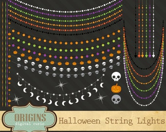 Halloween String Lights Clipart - Halloween Clip Art, String of Lights, Glowing Lights, Pumpkin lights, Moon and Stars Party Lights