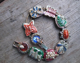 Vintage slide bracelet with creatures -- 230