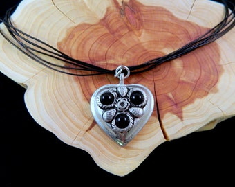 Heart Necklace, Silver and Black Heart Pendant Necklace with Black Cord