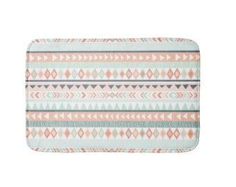 Tribal Plush Bath Mat, Bathroom Rug, Mint, Coral