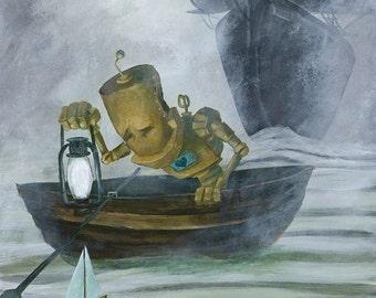 Sail Bot robot painting Print