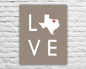 Valentines Gift - Texas Map - Any Country Map Print Military Family, Friend, Personalized State Map, Newly Wed, Wedding Gift, Home Decor Art