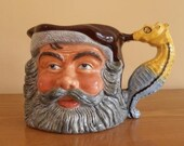 Mid century English Toby jug/nautical jug. King Neptune. Very large, pouring jug with a seahorse figurine handle, Kelsboro Ware, L.N.A.P