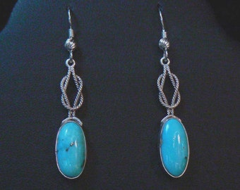 Sterling Silver and Natural Blue Gem Turquoise Earrings 13 carat TW