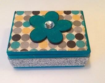 Little Teal Polka Dotl Wood Jewelry Box, Trinket Box, Decoupaged Wood Box, flower Box, Blue