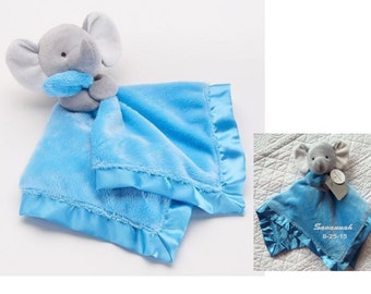 Carter's Plush Elephant Rattle and Security Blanket - Boys Blue Monogrammed