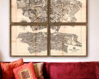 """Map of Ancient Rome 1911, Imperial Rome map, in 6 sizes up to 60x48"""" (150x120cm) 1 or 4 parts, 4th century Rome - Limited Edition of 100"""