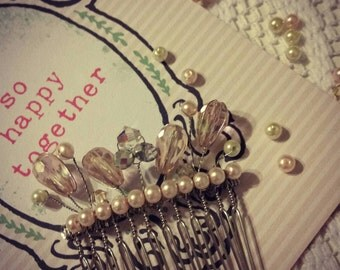 light pink crystal and pearl hair comb ,  swarovski tear drop beads , bridal hair accessory, pearls and crystals hair comb