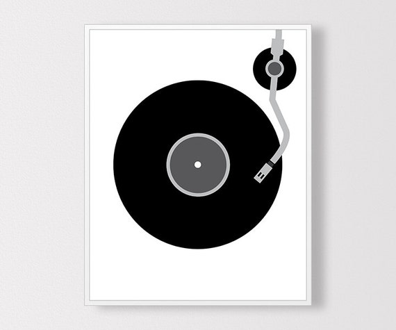 Vinyl record print minimal vinyl art vinyl by claresprintables for Vinyl record wall art