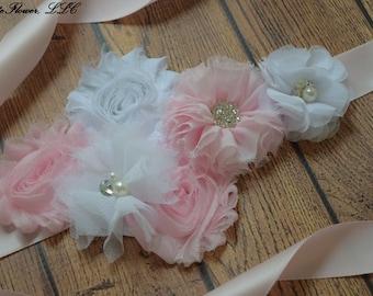 Sash,White and Light Pink Sash , flower Belt, maternity sash