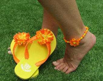 Summer beach set - flower flip flops and barefoot sandal in bright shining orange and yellow color, Flip flops, Barefoot jewelry