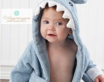 Baby Bathrobe - Baby Bath Robe - Shark Bathrobe - Baby Shower Gift - Boy Baby Shower Gift - Monogrammed Gift - baby Bath towel - Shark bath