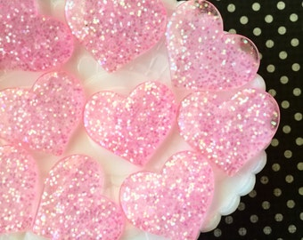 Pink Heart Resin Cabochons - Glitter Heart Cabochons - 37mm Decoden Cabochons