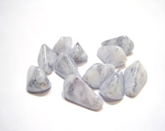 Czech Glass Triangle 11.5x8mm Picasso Blue - Pack 10