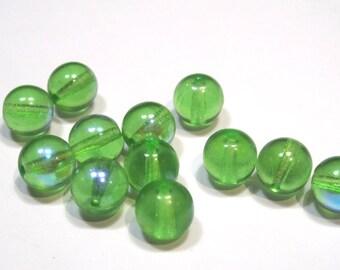 Czech Glass Druk 8mm - Pack 17 Beads - Peridot AB