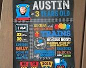 THOMAS TRAIN Chalkboard Sign, Choo Choo Train Birthday Poster, Birthday Board, Photo Prop, Printable