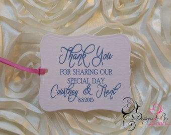 SET OF 12 Thank You For Sharing Our Special Day Custom Wedding Favor Tags