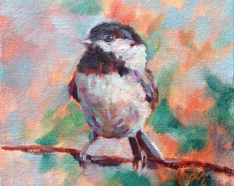 Chickadee - Original Oil Painting - 6x6 inches