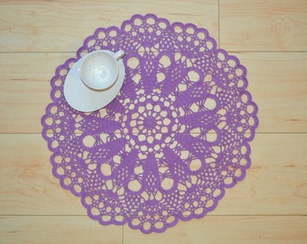 Extra large Crochet Purple Doily, Purple Placemat, New Hand Crochet Doily, Crochet Placemat, Crochet Lace Doily, Crochet Tablecloth