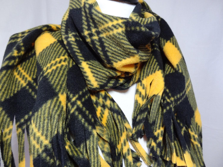 fleec scarf black and gold plaid fleece scarf football