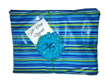 Gift Wrap Upgrade - Card, Gift wrapped with wrapping paper, curling ribbon and bow