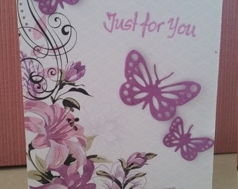 Just For You Floral and Purple Butterfly Card
