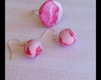 Marble pink polymer clay jewellery set