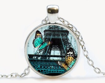 Teal Paris and Butterflies Glass pendant. Vintage Eiffel Tower Necklace. Paris jewelry. Birthday gift
