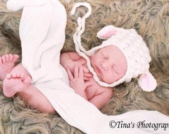 Made to Order - Little Lamb crochet hat .. newborn photography