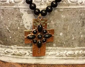 Black copper cross necklace