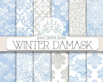 "Winter digital paper: "" WINTER DAMASK"" with winter digital damask background, blue damask paper, watercolor damask, glitter damask patterns"