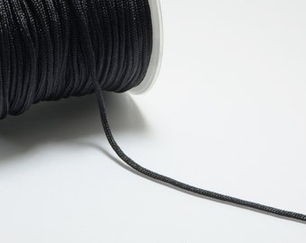 30m (98.4ft) (32.8 yards) 1.5mm Nylon Cords in Black, Chinese Knotting Cord, Spooled, Beading String for Beads #SD-S7753
