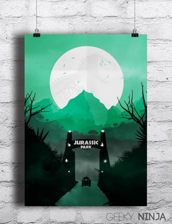Jurassic Park Inspired Minimalist Poster - Jurassic World Inspired Minimalist Print - Jurassic Park Art