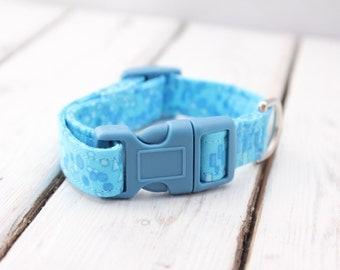 Blue Fabric Dog Collar: Extra Small 8-11 inches, Fabric Dog Collar, Blue Retro Fabric Collar, Dog Collar, Adjustable Collar, Dog, Collar