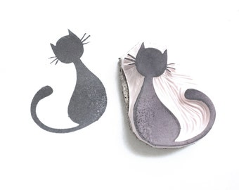 Halloween Black Kitty Cat Rubber Stamp | 016090