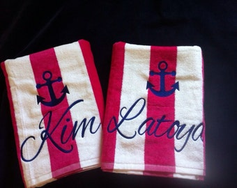 Monogrammed Anchor Beach Towels, Personalized Beach Towel, Beach towels