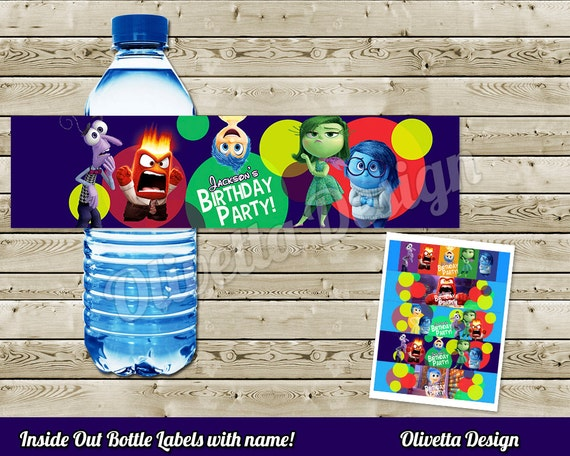 inside out birthday party printable bottle labels with. Black Bedroom Furniture Sets. Home Design Ideas