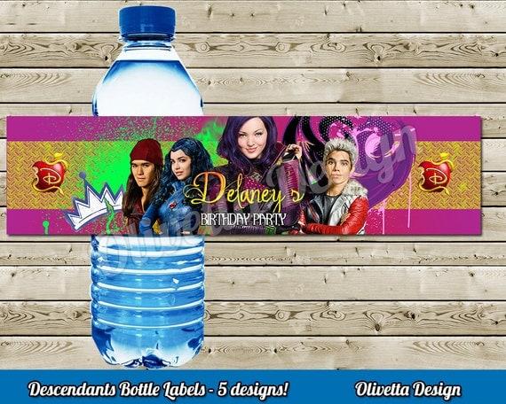 Disney Descendants Water Bottle Labels